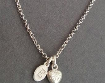 Personalised Bracelet initial bracelet dainty sterling silver jewellery initial bracelet heart charm bracelet daughter sister