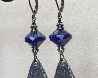 Royal Blue & Pewter Earrings