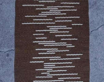 Handwoven Rug, Brown, With Random Stripes of Lichen. Reversible.