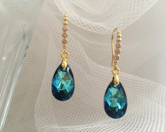 Sapphire Swarovski Crystal Drop Earrings, Swarovski Crystal Earrings, Party Earrings, Wedding Earrings, Bridal Jewelry, Bridesmaids Jewelry