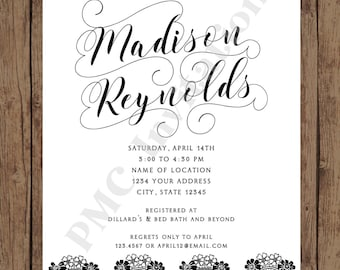 Custom Printed Black and White Lace Bridal Shower Invitations - 1.00 each with envelope