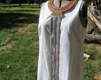 Vintage Maasai Wedding Necklace Beaded Collar African Ceremonial, Kenya Masai Ethnic Cultural Art