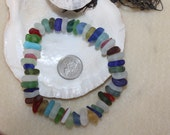 BEAUTIFUL BEACH GLASS Genuine Center Drilled Sea Glass Beads 50 Colorful Jewels of the Ocean zy084