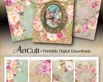 Printable CHIC JEWELRY HOLDERS digital download 2.5x3.5 inch images, elegant Gift Tags, hand painted flowers vintage shabby chic by ArtCult