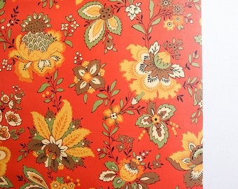 1970s Floral Wallpaper Roll / Sunworthy Double Roll / NOS Unused / Orange
