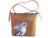 Sale Vegan Caramel Rabbit Bag - handpainted medium size upcycled faux tan brown leather shoulder purse - one of a kind, Carpisa Italy qualit