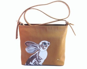 Vegan Caramel Rabbit Bag - handpainted medium size upcycled faux tan brown leather shoulder purse - one of a kind, Carpisa Italy quality bag