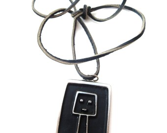 Unique Unmarked Silver Tone Metal Square Shaped Black Enamel Tall Square Head Figurine Pendant Necklace with Dark Brown/Black Leather Cord