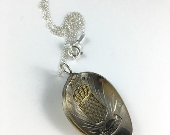 Monaco Necklace, Monaco Jewelry, Monaco Souvenir, Monaco Charm, Vintage Monaco, Wife Gift, Monaco Gift, Crown Necklace, Crown Jewelry
