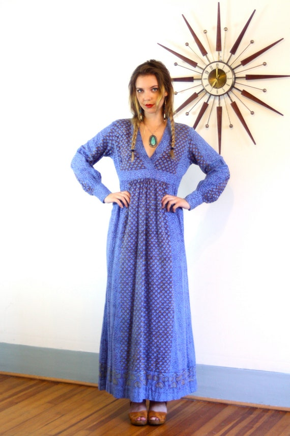 ADINI Boho Caftan 70s Indian Hippie Maxi Dress Block Print India Imports Light Blue Cotton Old 1970s Ethnic Long Sleeve Kaftan Rhode Island