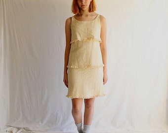 vintage cream lace dress 60s 70s small