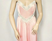 Vintage Pink Nightgown Lace Nightgown Long Night Wear
