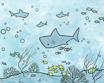 Sharks Kids Room Wall Art, 8x10 Whimsical Ocean Print, little boy gift