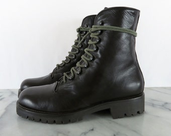 Vintage Italian Military Style Combat Boots Faconnable Dark Brown Genuine Leather Made in Italy 36 6