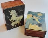 1 Vintage Unicorn Fantasy Horse Cedar Trinket Box Jewelry Box - Birthday gift, Kids Wooden Treasure Box, Girls Present, Baby Shower GIFT
