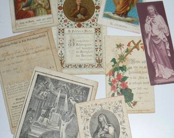 Antique Lot of German Prayer Cards and Religious Ephemera Late 1800s