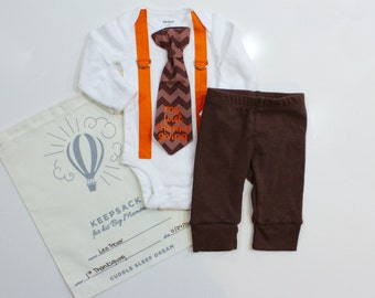 First Thanksgiving Outfit WITH PANTS for Baby Boy. Boy Thanksgiving Outfit. My 1st Thanksgiving. Turkey Day. Chevron Tie and Suspenders.