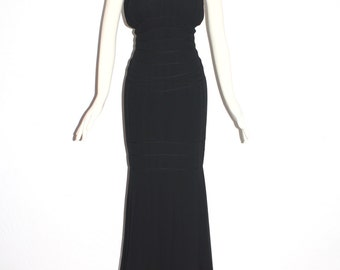 THIERRY MUGLER Vintage Black Formal Dress Grecian Pleated Fishtail  - AUTHENTIC -