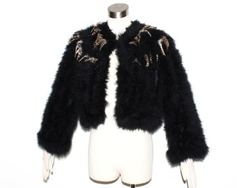 Vintage FEATHER Jacket Black Marabou Turkey Jacket