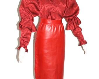 SAINT LAURENT Vintage Rive Gauche Red Blouse Leather Skirt  - Authentic -