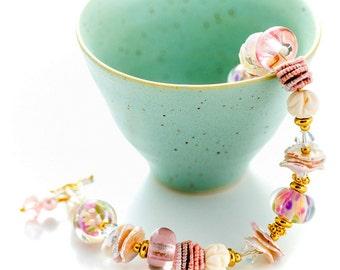 Pastel Artisan Bracelet. Peach Pink Lampwork Bracelet. Keishi Pearls. Glass Bead Bracelet.