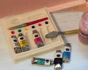 Miniature Art Set With Paints, Watercolors, Spatula, Dollhouse Miniatures, 1:12 Scale, Home Decor, Accessory, Artist Supplies, Art, Painting