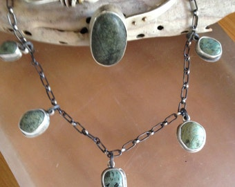 Green BeachStone Necklace, Sterling Silver and 5 beach stones OOAK