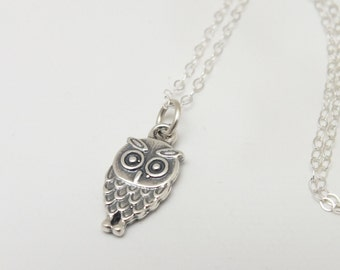 Owl Pendant Necklace, Owl Sterling Silver Necklace