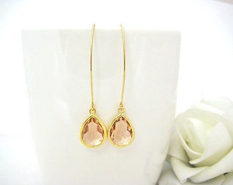 Peach Drop Earrings Champagne Drop Earrings Champagne Gold Earrings Wedding Jewelry Bridesmaids Gift Gift for Her Trendy Items (ER013)