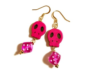 Dice Earrings, Sugar Skull Earrings, Hot Pink Earrings, Day of the Dead Jewelry,  Dia de los Muertos, Rockabilly Earrings