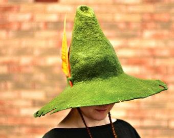 Snufkin Cosplay Hat. Tattered Wizard Hat. Ragged Fantasy Hat. LARP.
