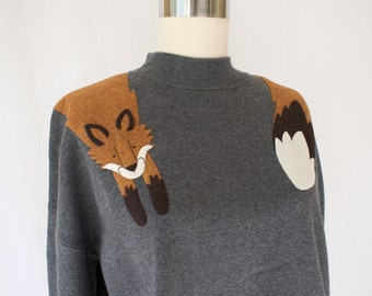 Fox Sweater with mock neck in Gray/ Women's Clothing for Fall
