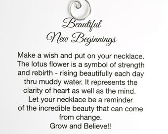 Lotus Charm Necklace on Card , Bridesmaid Jewelry , Meditation Jewelry , Yoga Jewelry , Spiritual Necklace , Encouragement Gift