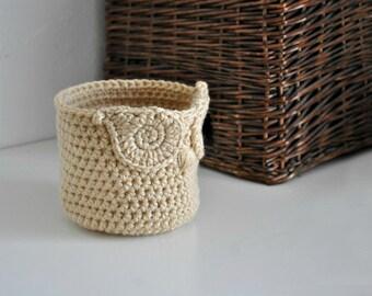 Small Tan Owl Basket Crocheted Bin Woodland Nursery Decor Home Organizer Custom Colors