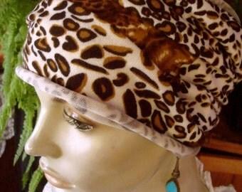 womens Headband extra Wide Soft Headband  leopard print Comfortable Yoga turband Alopecia soft  med knit