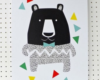 Big Bear Print Black White Geometric A3 Poster