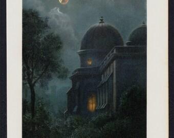 1898 Original Victorian Antique MOON ECLIPSE print, A partial lunar eclipse, a romantic scenery, old astronomy