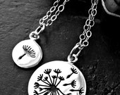Mother Daughter Dandelion Necklace Set - Mother Daughter Necklace - Dandelion Necklace Set - Daughter Mother Sterling Silver Necklace Set