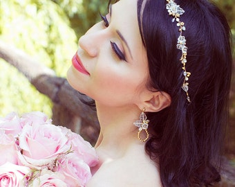 Eirin, due drops romantic long earrings, bridal earrings, wedding jewelry