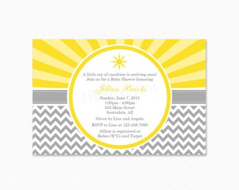 Sunshine Baby Shower Invitation, Gender Neutral Baby Shower Invitation, Personalized, Printable Invitation