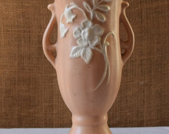 WELLER POTTERY SINCE 1872 Peach Cameo Lily Double Handle Vase Blush Peach Cameo Lily Vase by Weller Pottery Since 1892