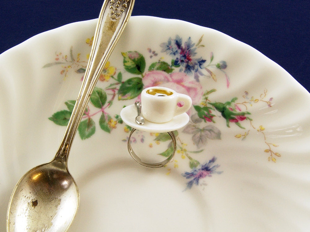 Coffee Cup Ring - Coffee Jewellery - Coffee Lover Gift