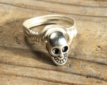 size 11.75 , 11 3/4 - silver plated Skull wire wrapped ring -  unisex men women teen girl boy punk goth rocker jewelry