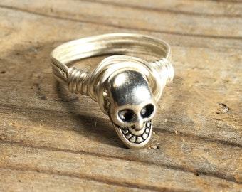 size 11.75 , 11 3/4 - silver plated Skull wire wrapped ring -  unisex men women teen girl boy punk goth rocker jewelry