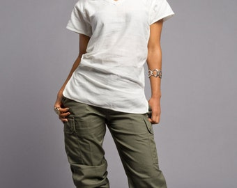1980's Authentic MILITARY STYLE VINTAGE Olive Green Womens' French Cargo Pants ( Un-issued)