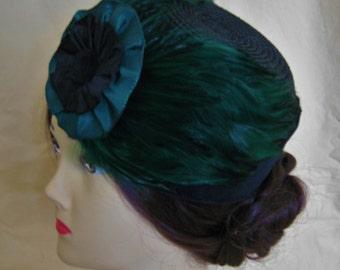 Civil War/Victorian Hat/Toque. 1860's Dickens. Black/Emerald Green Straw and Velvet