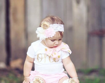 Baby Girl 1st Birthday Outfit Cake Smash Set up to 4 Items ONE OR 1 & Bow Bodysuit, Lace Bloomers Diaper Cover, Leg Warmers, Flower Headband