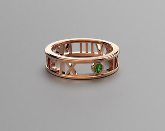 Round Emerald Roman Numeral Ring in Solid 14k, 18k Rose Gold. Valentine's Day Gift for Couples. Wedding & Anniversaries