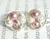 Petite Pink Pearl Studs Mix it Up Series - Silver Wire Wrapped Stud Earrings With Stardust Beads and White / Pink Swarovski Glass Pearls