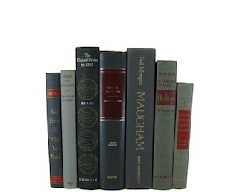 Gray Old Books, Gray  Black Vintage Books,  Book Home, Rustic Decor. Accent Books, Used Books, Gift for Book Lover, Vintage Home Decor
